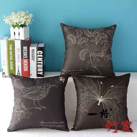Nature Drawing Themed Noir Dark Pillow Cover