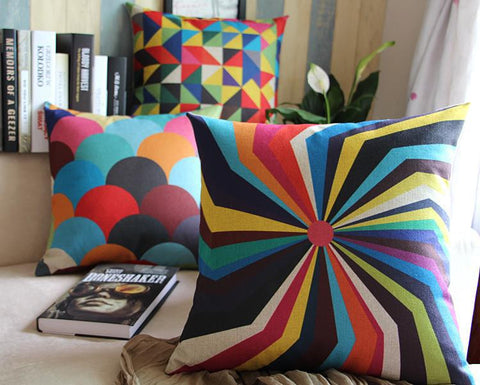 Colorful Kaleidoscope Inspired Linen Pillow Cover