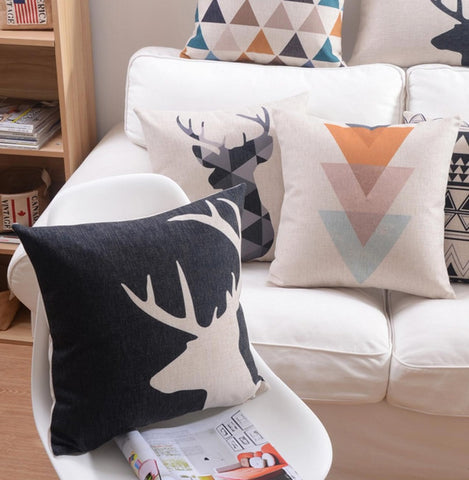 Abstract Deer and Geometric Shapes Decorative Pillow Case