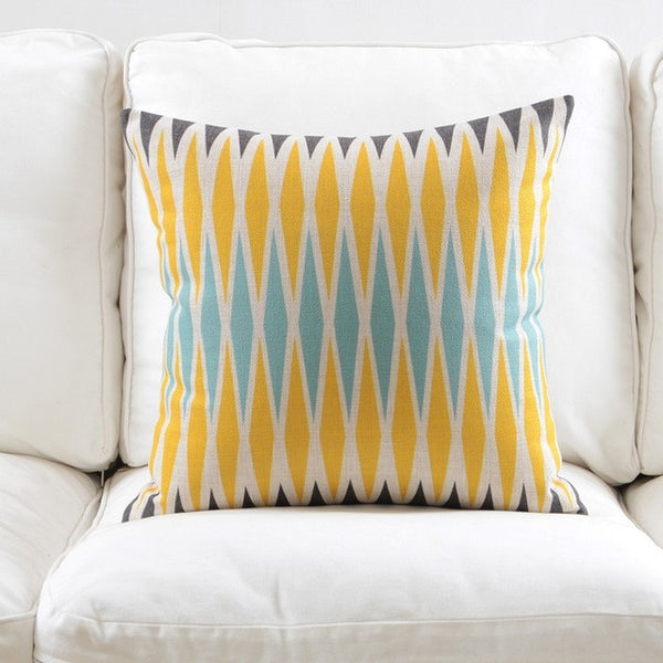 Geometric Modern Linen Pillow Cover