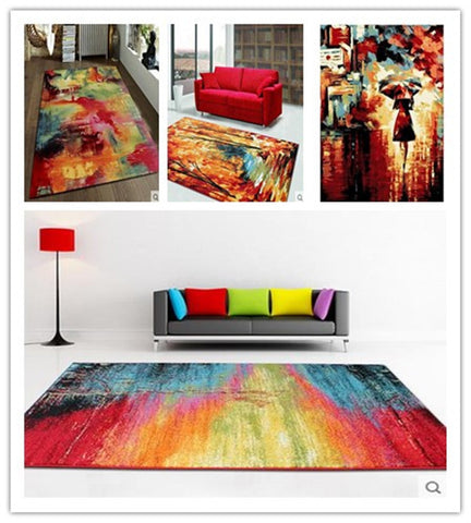 European Style Colorful Abstract 100% Wool Rug