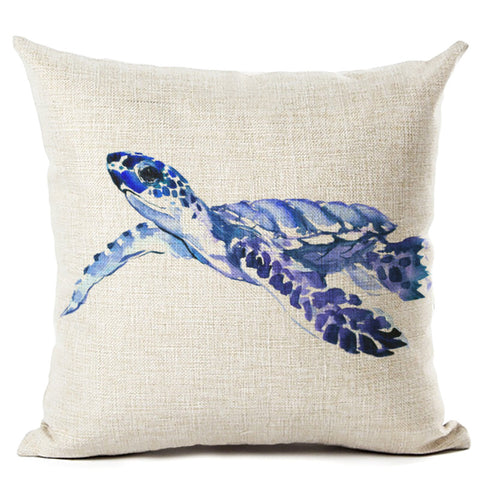 Ocean Style Sea Turtle Throw Pillow Cushion Cover Printed Linen