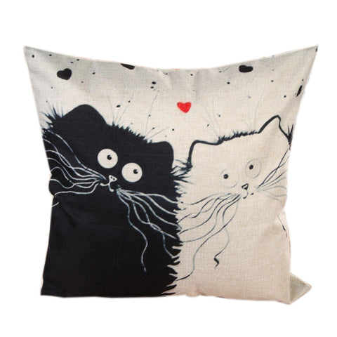 Cartoon Cat Decorative Linen Cotton Blend Cushion Cover Pillowcase