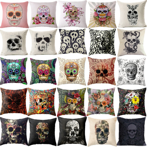 Punk Bohemia Paisley Skull Theme Cushion Cover Cotton Linen
