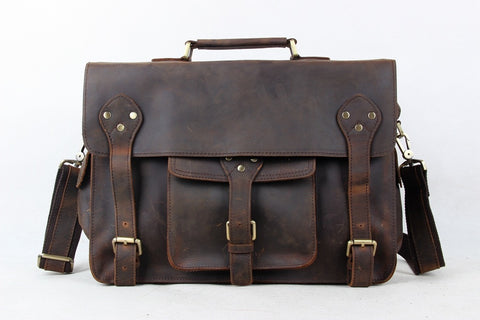 Bags : Handcrafted 14'' Genuine Leather Briefcase