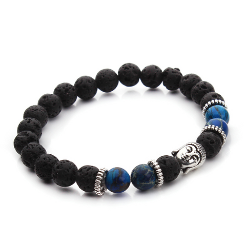 Bracelets : The Buddha, Imperial Jasper Beads and Lava Stone, Blue