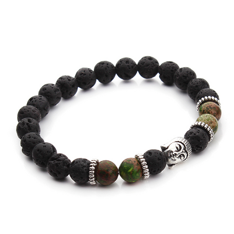 Bracelets : The Buddha, Imperial Jasper Beads and Lava Stone, Green
