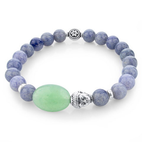Bracelets : The Buddha, Agate Stone, Green and Purple