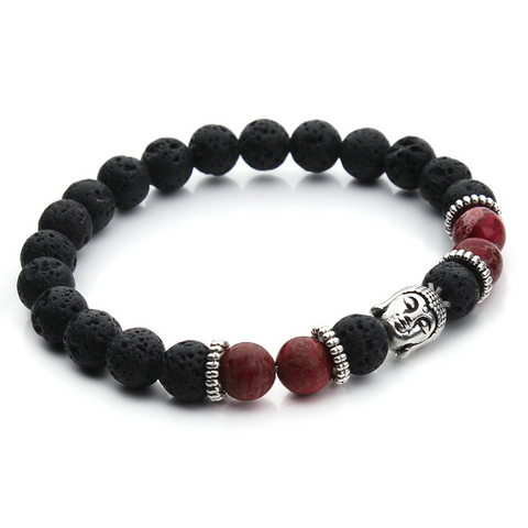 Bracelets : The Buddha, Imperial Jasper Beads and Lava Stone, Red
