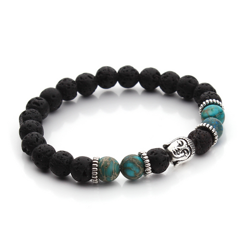 Bracelets : The Buddha, Imperial Jasper Beads and Lava Stone, Light Blue