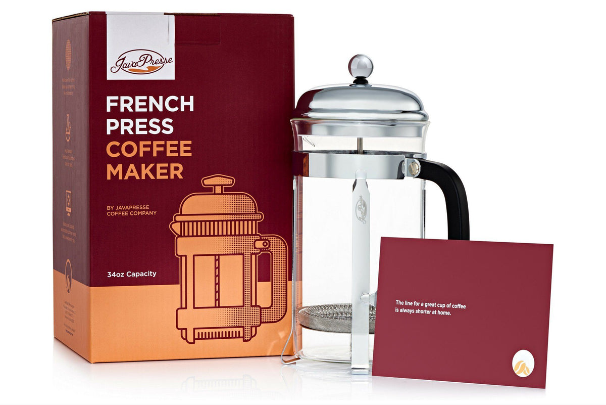 buy our 1 rated french press coffee maker javapresse coffee company. Black Bedroom Furniture Sets. Home Design Ideas