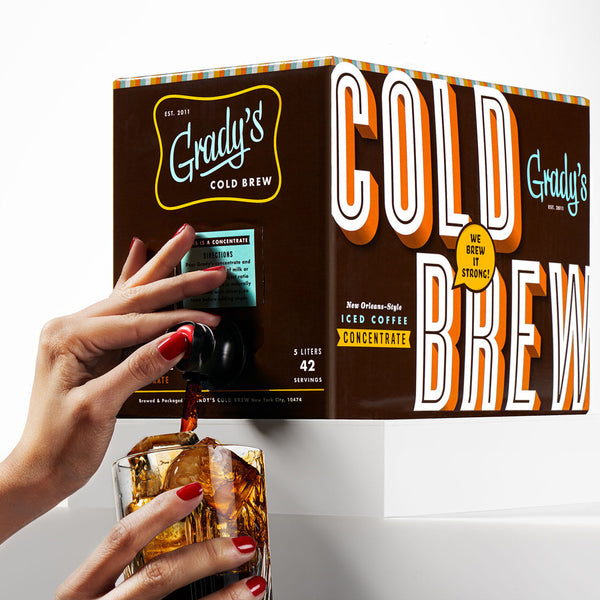 Box of Grady's iced coffee concentrate.