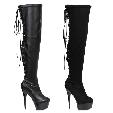 609FARE Thigh High Lace up Platform Boot w/6 inch Heel by LA Kiss.com