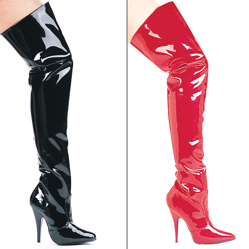 SUSIE Thigh High 5 inch heel single sole Boot w/zipper by LA Kiss.com