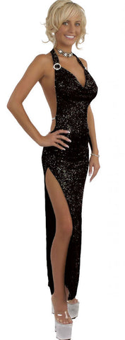 SEXY STRIPPER GOWNS EXOTIC COWL NECK GOWN W/CRYSTAL RHINESTONE ACCENTS & THONG BY LA KISS.COM