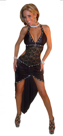 EXOTIC  SEXY STRIPPER DANCEWEAR SEXY HI LOW CRYSTAL RHINESTONE & LACE GOWN/THONG BY LA KISS.COM