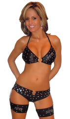 EXOTIC DANCEWEAR STRIPPER STYLE RHINESTONE & STUD CHAP SET W/THONG BY LA KISS.COM - LA Kiss.com - 1