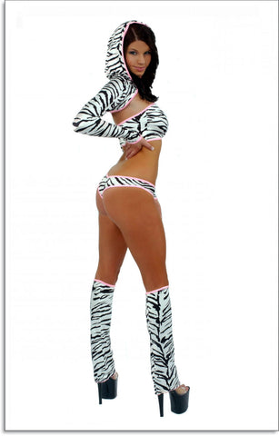 EXOTIC DANCER, SEXY STRIPPER SHORTY 6 PIECE LINED HOODIE SET BY LA KISS.COM - LA Kiss.com - 1