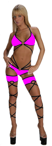 EXOTIC DANCER SEXY STRIPPER HOT SHOT 5 PIECE CAGE SET W/LEG CUFFS & THONG BY LA KISS.COM - LA Kiss.com - 1