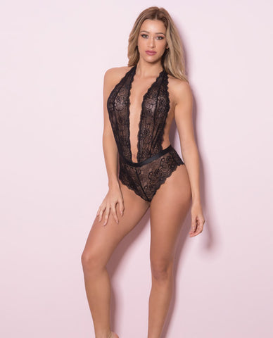 Plunging Lace Halter Teddy w/Tanga Back Black S/M