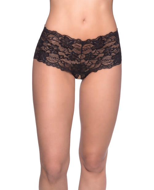 Goodnight Lace Crotchless Boyshort w/Elastic Detail Black S/M