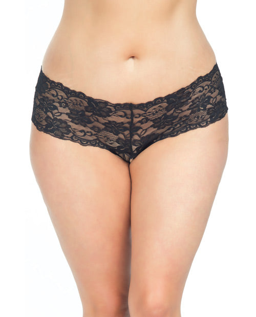 Goodnight Lace Crotchless Boyshort w/Elastic Detail Black 3X/4X