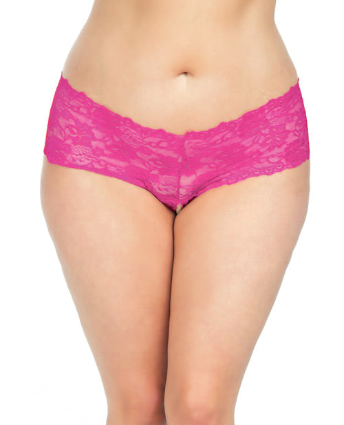 Goodnight Lace Crotchless Boyshort w/Elastic Detail Pink 1X/2X