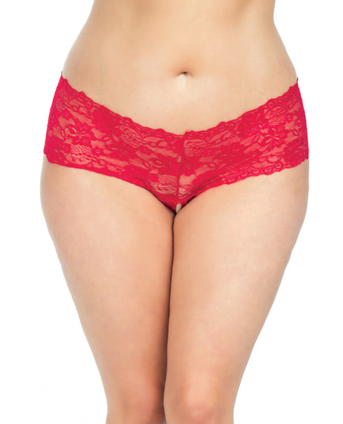 Goodnight Lace Crotchless Boyshort w/Elastic Detail Red 3X/4X