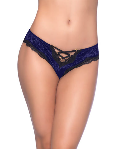 Amalie Crushed Velvet Tanga Panty w/Lace Up Detail Astral Aura/Black SM