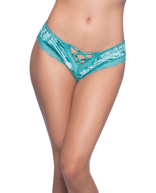 Amalie Crushed Velvet Tanga Panty w/Lace Up Detail Dusty Turquoise XL