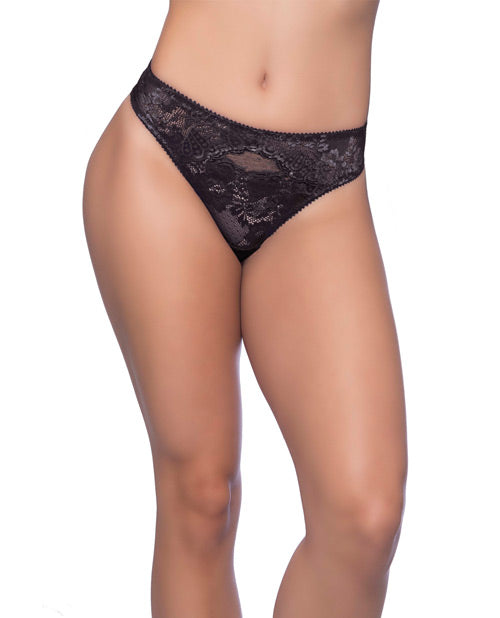 Josilyn Lace Thong w/Scalloped Edge Keyholes Black 2X