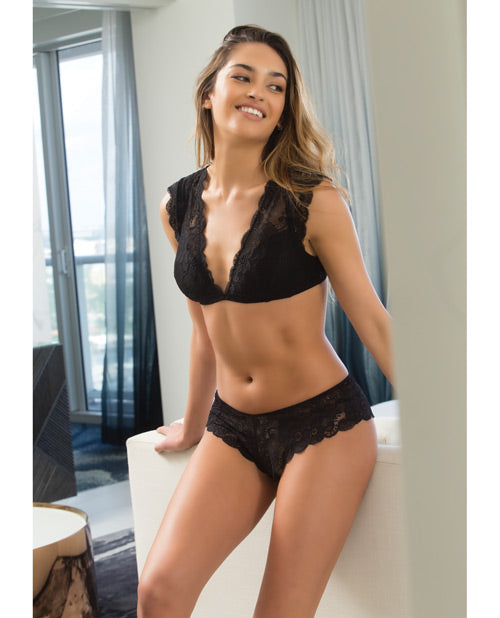 Suzette Lace Bralette w/Cap Sleeve & Removable Pads & Lace Panty Black LG
