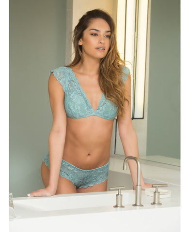 Suzette Lace Bralette w/Cap Sleeve & Removable Pads & Lace Panty Dusty Turquoise MD