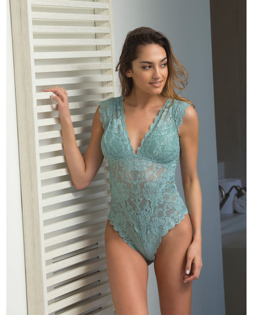 Suzette Lace Teddy w/Cap Sleeve & Removable Pads Dusty Turquoise SM