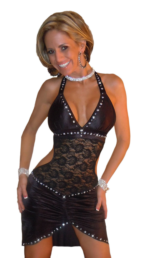 SEXY STRIPPER HOT CLUB WEAR BODY CON ELEGANT RHINESTONE & LACE DRESS & THONG  BY LA KISS.COM - LA Kiss.com - 1