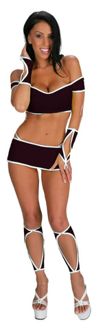 EXOTIC DANCEWEAR SEXY STRIPPER 7 PIECE SKIRT SET WITH LEGGINGS AND GLOVES BY LA KISS.COM - LA Kiss.com