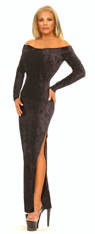 Sexy Gown Long Sleeve Gown in Velvet or Lycra by LA Kiss.com
