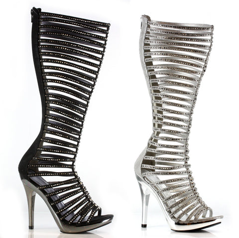 Sexy Knee High Strappy Rhinestone Stiletto Boots by LA kiss.com