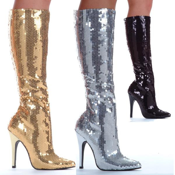 Knee High Sequin Stiletto Boot w/5 inch heel by LA Kiss.com