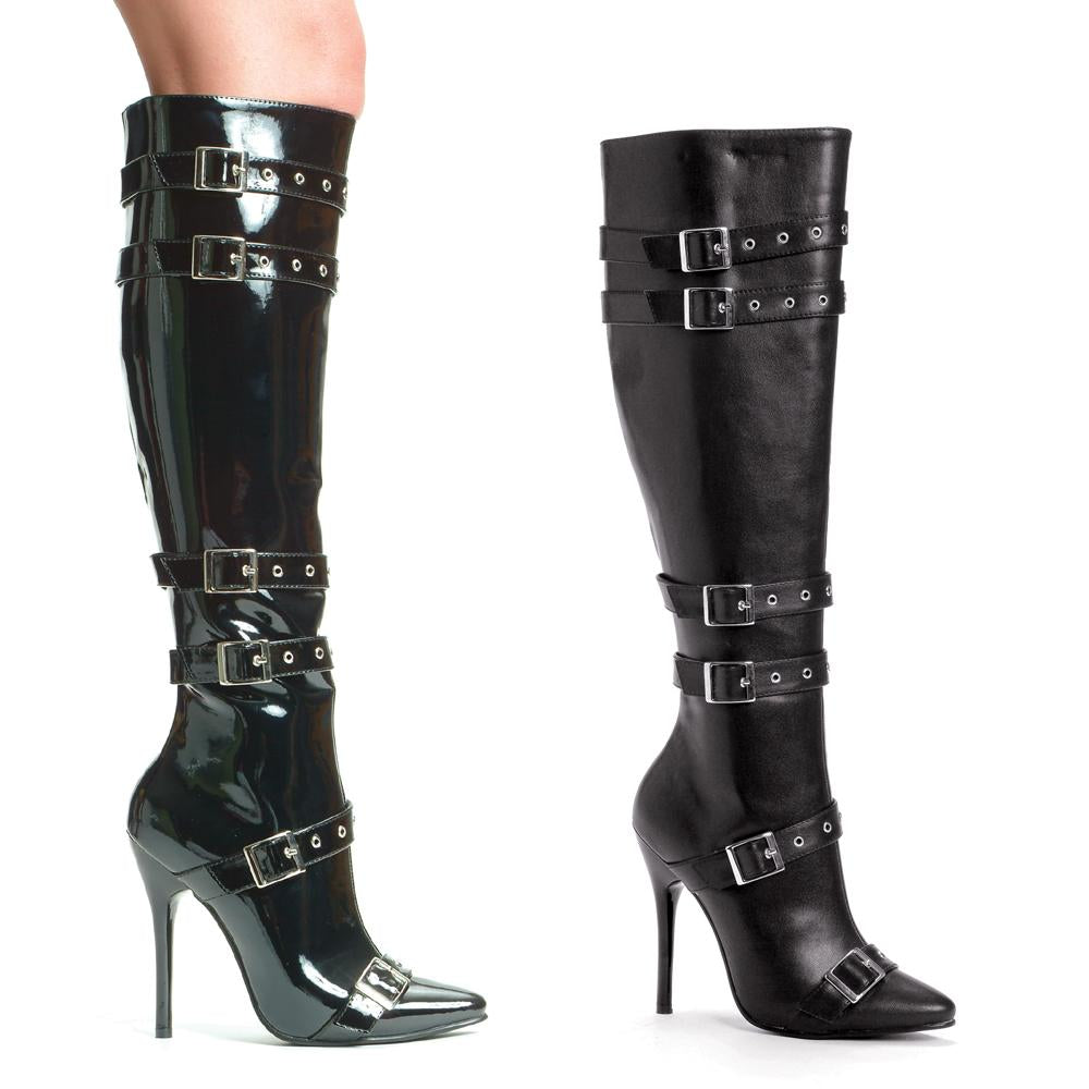 Knee High Stiletto Boot w.buckle accents by LA Kiss.com
