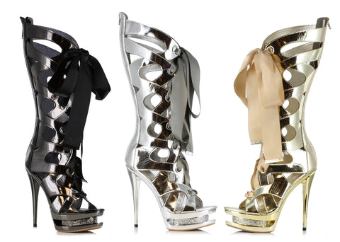 Sexy Knee high Strappy Stiletto Platform boots w/6 inch heel by LA kiss.com
