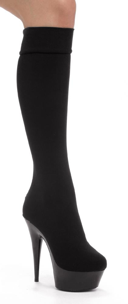 Knee High Stiletto Platform  Lycra boot w/6 inch heel by LA kiss.com