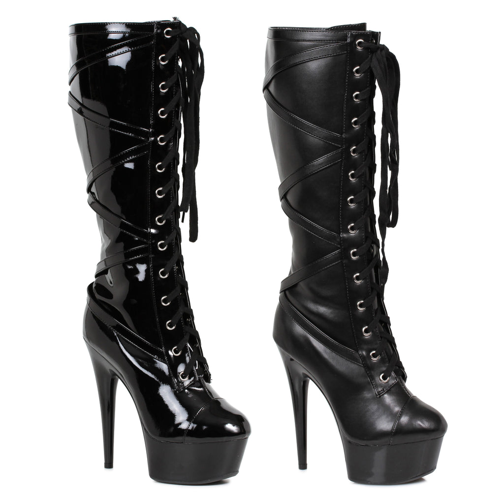 "Knee High 6"" Stiletto Heel Lace Up Platform Boot W Inner Pocket by LA kiss.com"