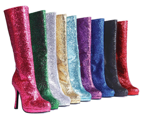 Knee High Boot Glitter w/mini platform and flared heel by LA Kiss.com