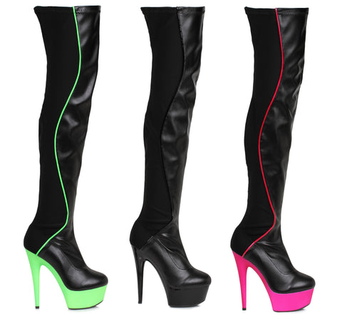 609 UNIQUE 6 inch Heel Faux Leather and Lycra Thigh High Boots by LA Kiss.com
