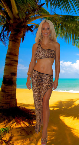 POOL PARTY BEACHWEAR ONE SHOULDER LONG SKIRT SET W/MATCHING BOTTOM BY LA KISS.COM - LA Kiss.com