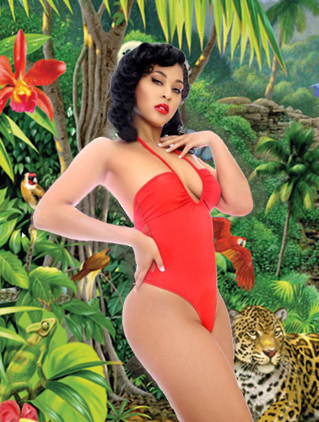 SEXY BEACHWEAR POOL PARTYY BIKINI ONE PIECE W/THONG BACK LACE AT REAR OF SUIT BY LA KISS.COM - LA Kiss.com