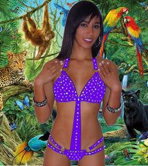 POOL PARTY BIKINI SEXY BEACHWEAR PRINCESS WIDE BAND CRYSTAL RHINESTONE ONE PIECE W/SCRUNCH BUTT BY LA KISS.COM - LA Kiss.com - 1