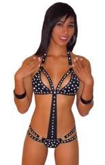 SEXY STRIPPER EXOTIC DANCER RHINESTONE & STUD THONG BACK ROMPER BY LA KISS.COM - LA Kiss.com - 1