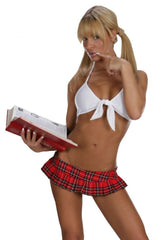 SEXY SCHOOLGIRL SEXY STRIPPER DARLING DEVIL  PLAID SCHOOLGIRL 2 PIECE SET BY LA KISS.COM - LA Kiss.com - 1